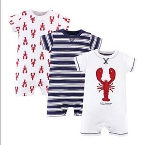 Nautical Lobster Stripe Organic Cotton Romper Set